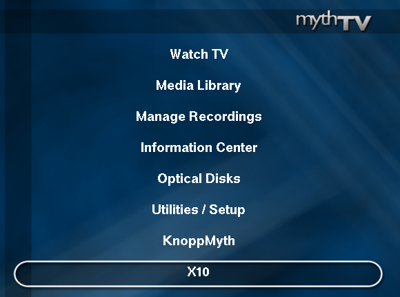 Picture of Control X10 Modules Via MythTV