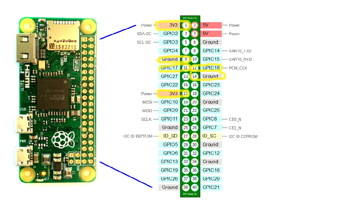 Picture of Connecting Buttons to Raspberry Pi Zero