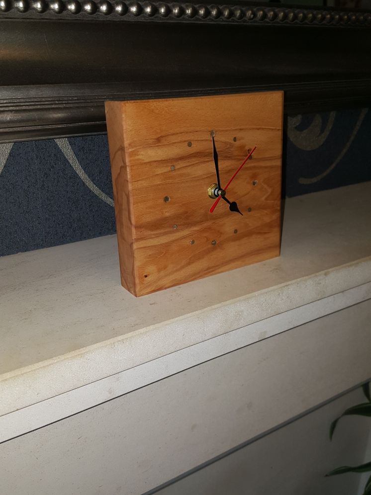 Picture of Hardwood Clock Brass Inserts.