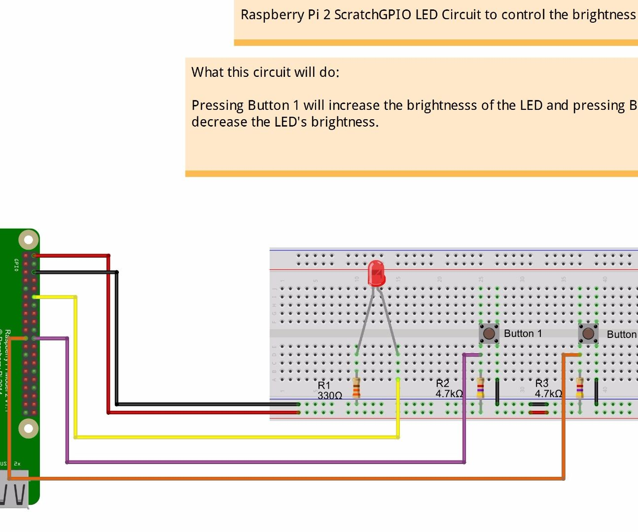 Pwm Based Led Control Using Push Buttons Raspberry Pi 2 And Scratch Circuit 8 Steps With Pictures