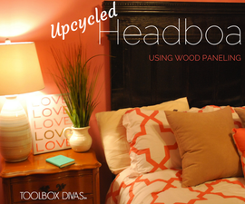 UPCYCLED HEADBOARD MADE WITH WOOD PANELING