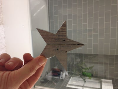 Reclaimed Wooden Silver Star Christmas Decoration or Light Pull