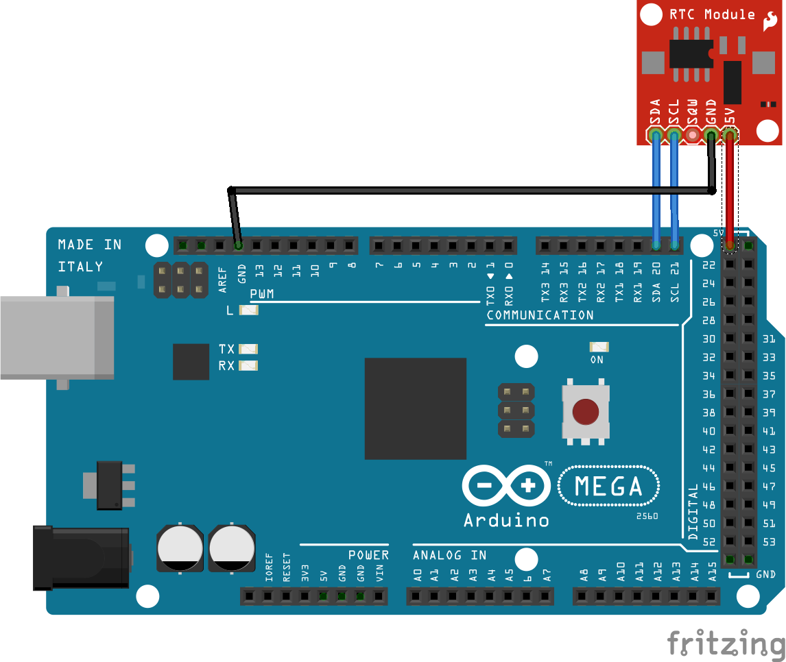 Picture of Connect the RTC to the Arduino...