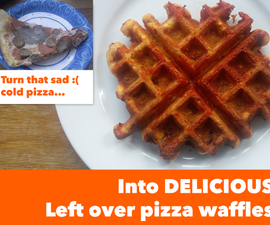Delicious leftover pizza waffles