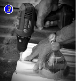 Drill 4 Holes on Each Side of the Solar Bottle Bulb Using Bosch Lithium-ion Cordless Drill and Put in the Rivets
