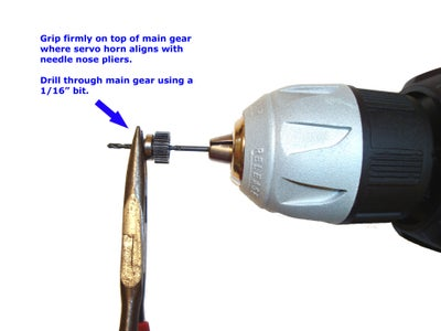"""Hold Top of Main Gear and Drill Completely Through Using a 1/16"""" Bit"""