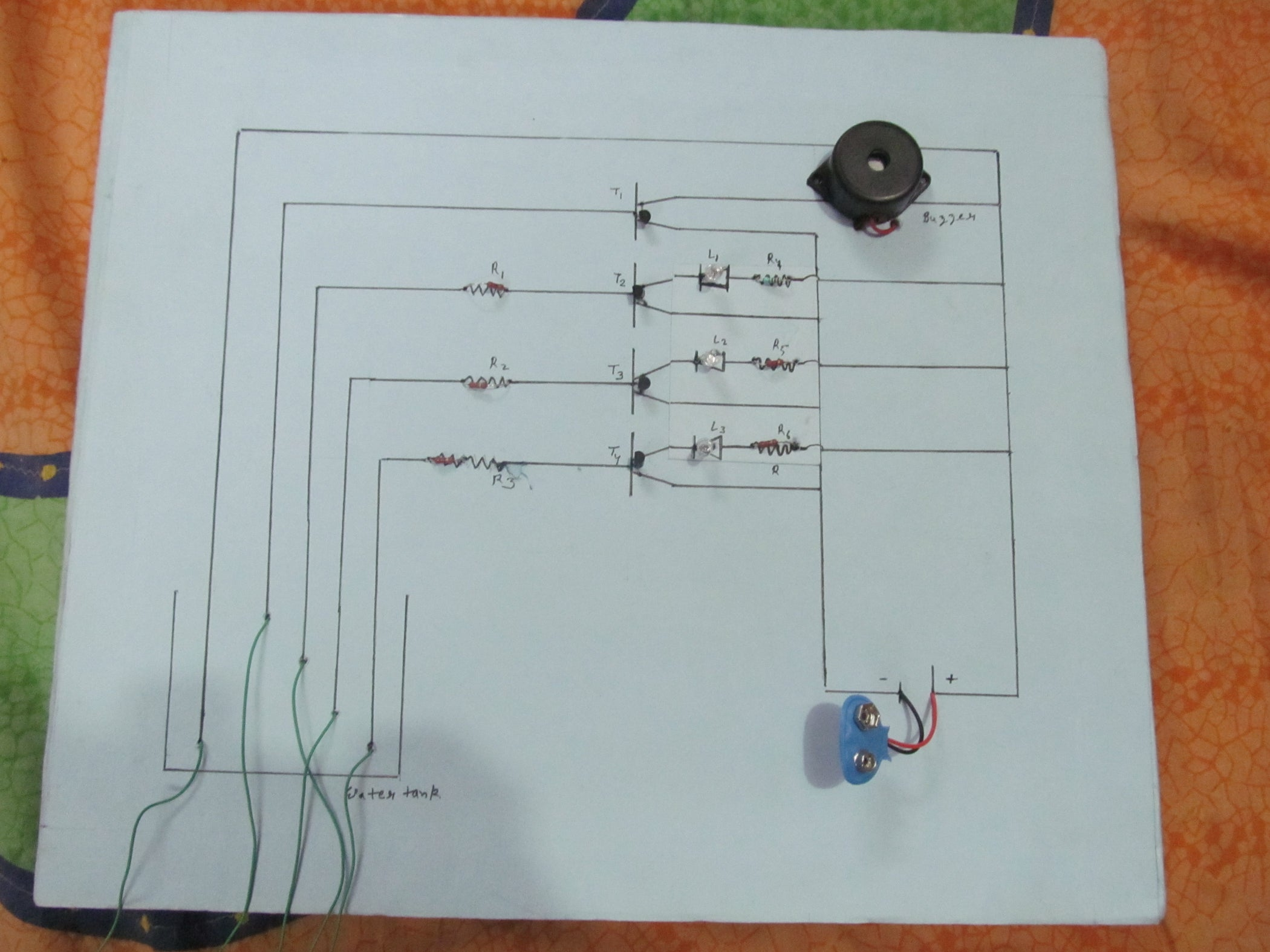 Water Level Indicator With Alarm 3 Steps One Transistor Led Flasher Circuit Diagram