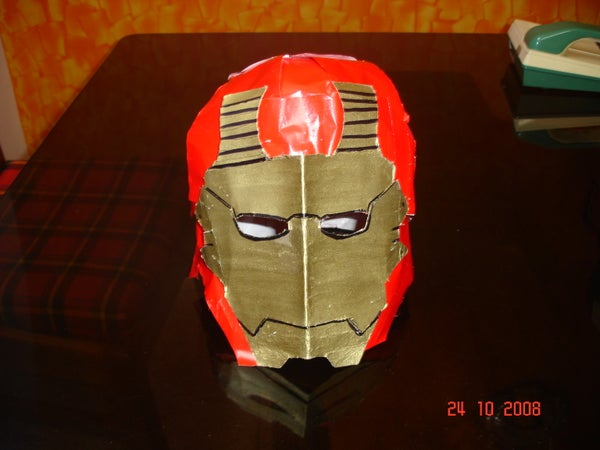 My Cheap, Easy to Make, Cardboard Iron Man Classic Helmet Which I Have Made for This Halloween for Under $3