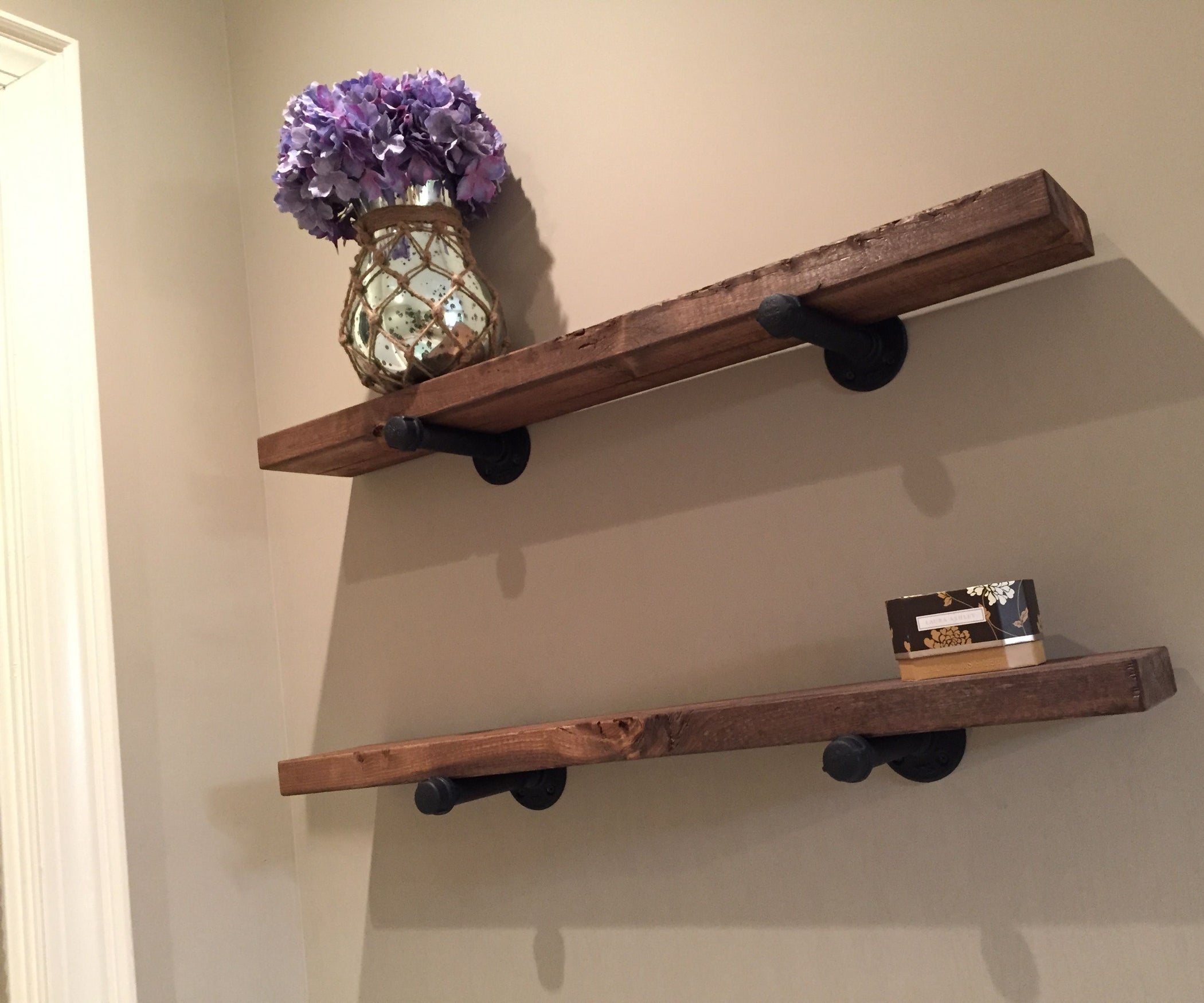 Simple Iron Wood Shelves