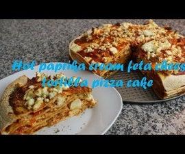 Hot Paprika Cream Feta Cheese Tortilla Pizza Cake Recipe