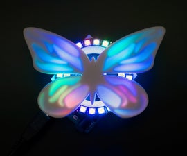 3D Printed NeoPixel Ring Butterfly With Tinkercad