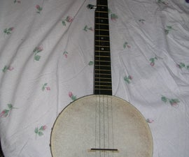 Home Made 5 String Banjo, Low Budget Built From Parts and  Some Scrap.