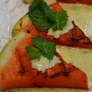 Grilled Watermelon with Chervil and Mint sauce