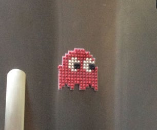 Cross-Stitch a Fridge-Magnet Blinky From Pacman