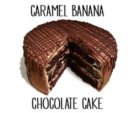 Caramel Banana Chocolate Cake