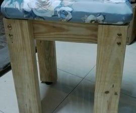 Upholstered Pine stool for dressing table