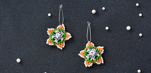 How to Make a Pair of Handmade 2-Hole Seed Bead and Pearl Bead Star Earrings