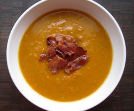 Curried sweet potato soup with bacon
