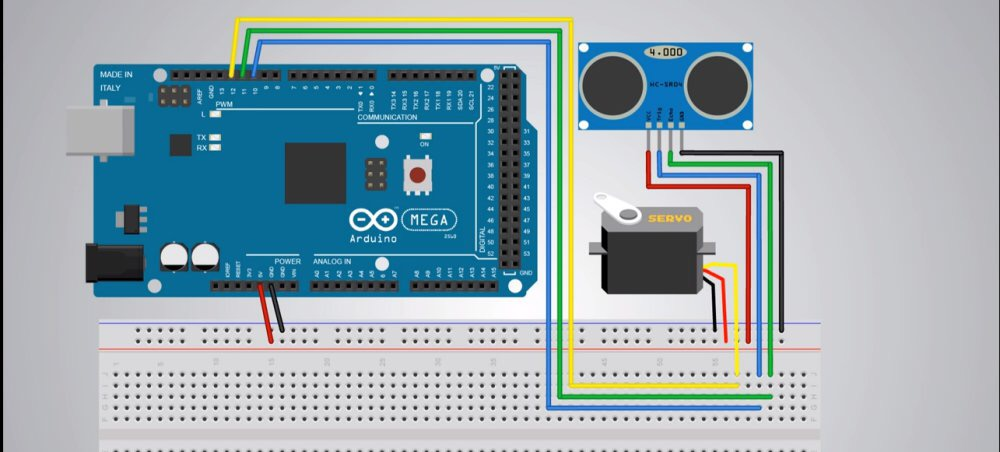 Picture of  Arrange the Connections Between the Arduino, the Servo and the Ultrasonic Radar, As Is Shown Below.