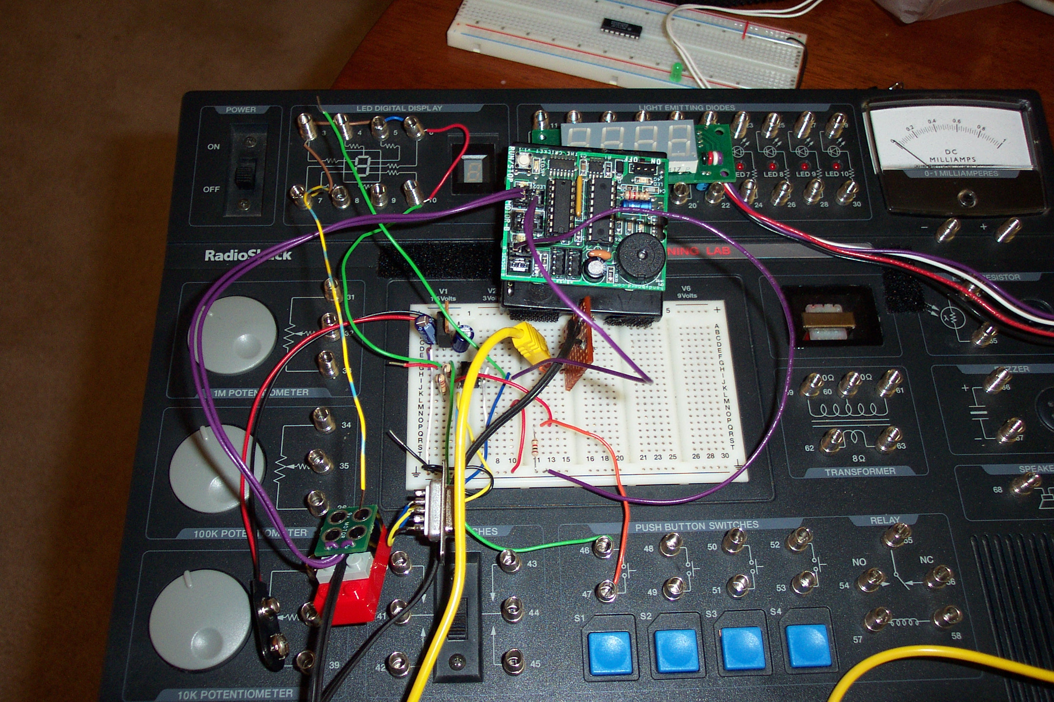Picture of The Mini-Waking Bot Distributive Controller (DC) Built Using a Radio Shack Electronics Learning Lab