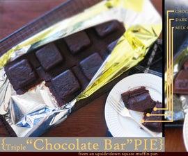 """Triple """"Chocolate Bar"""" PIE (Chocolate Pie shaped like a Chocolate Bar)"""