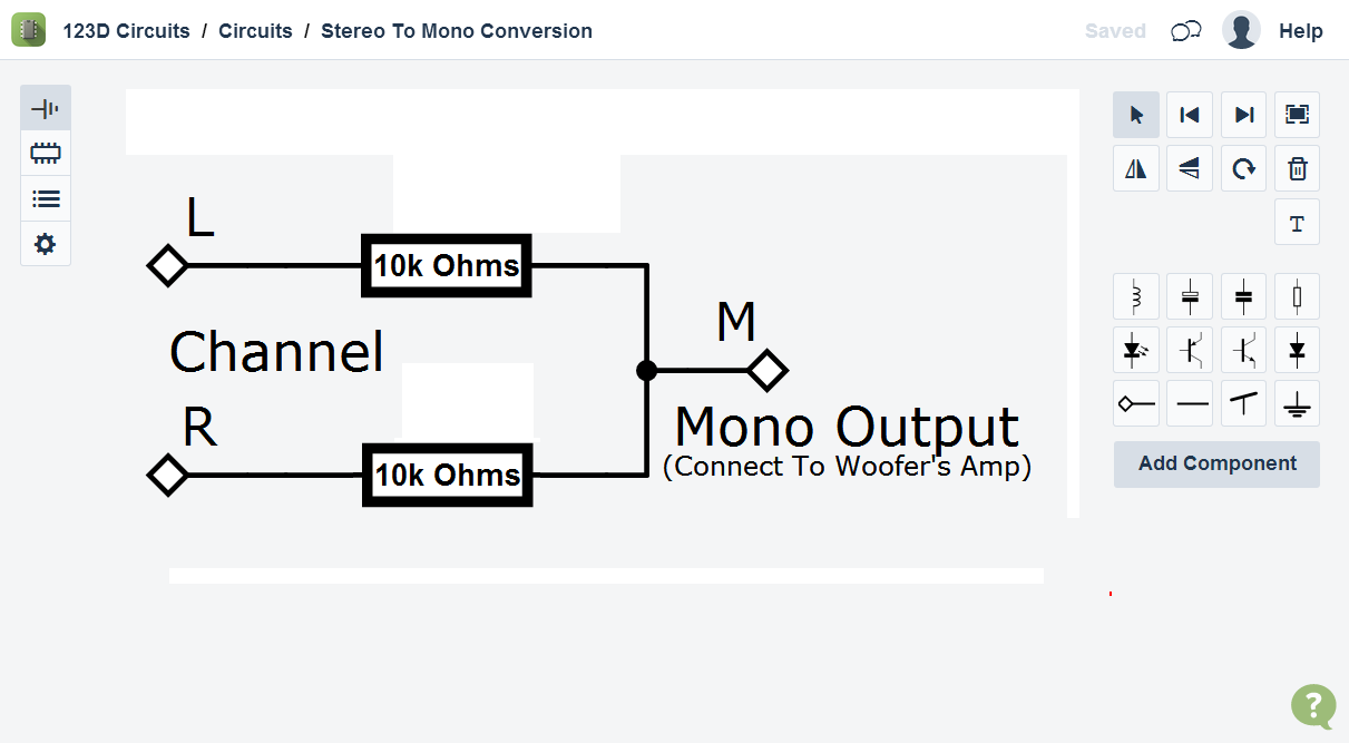 Picture of Combining L + R Channels for the Woofer