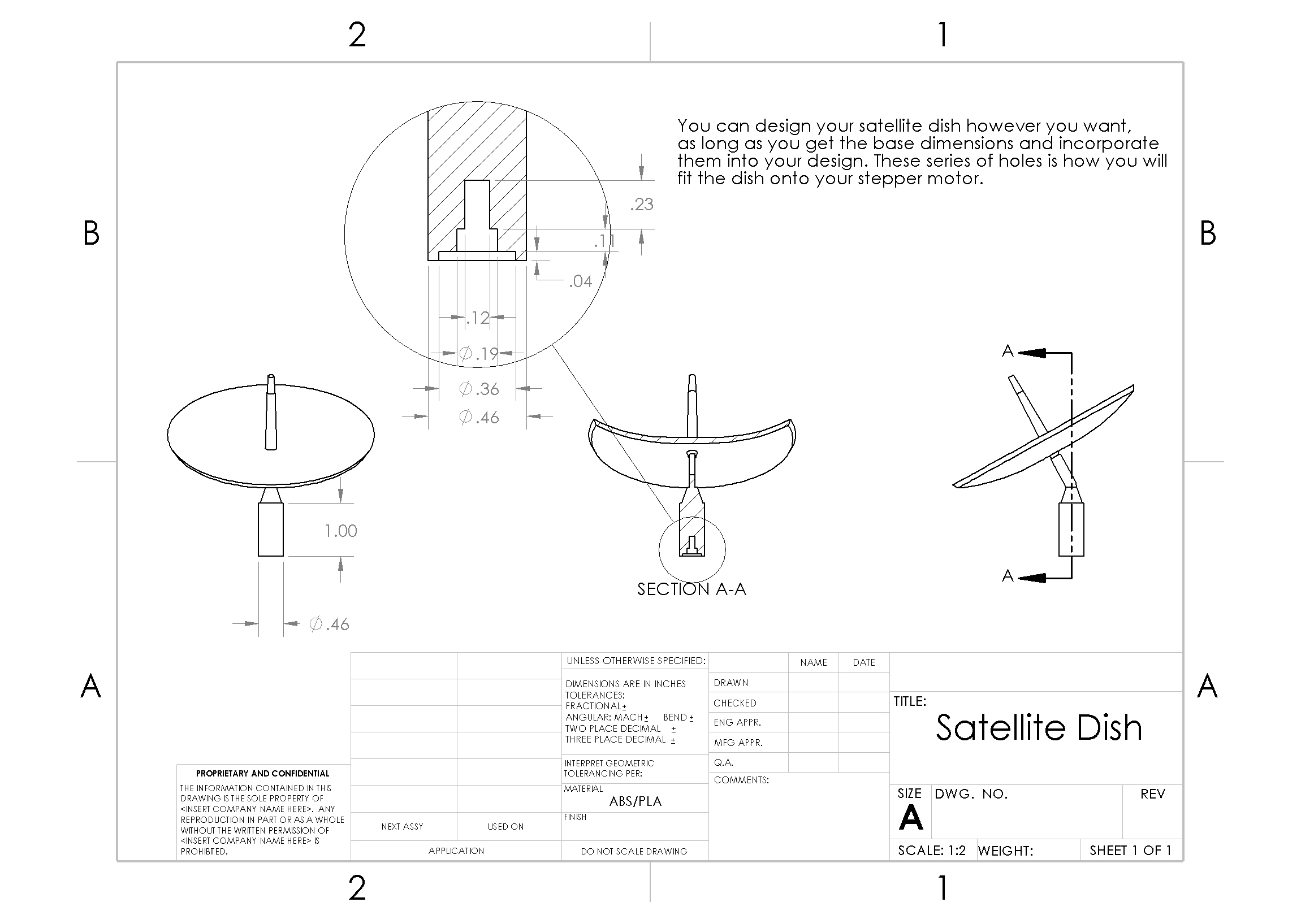 Picture of Schematics and Dimensions - Satellite Dish