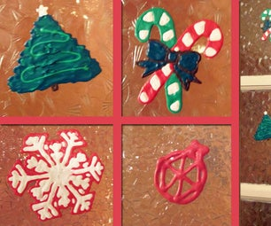 Reusable Puffy Paint Christmas Window Decorations