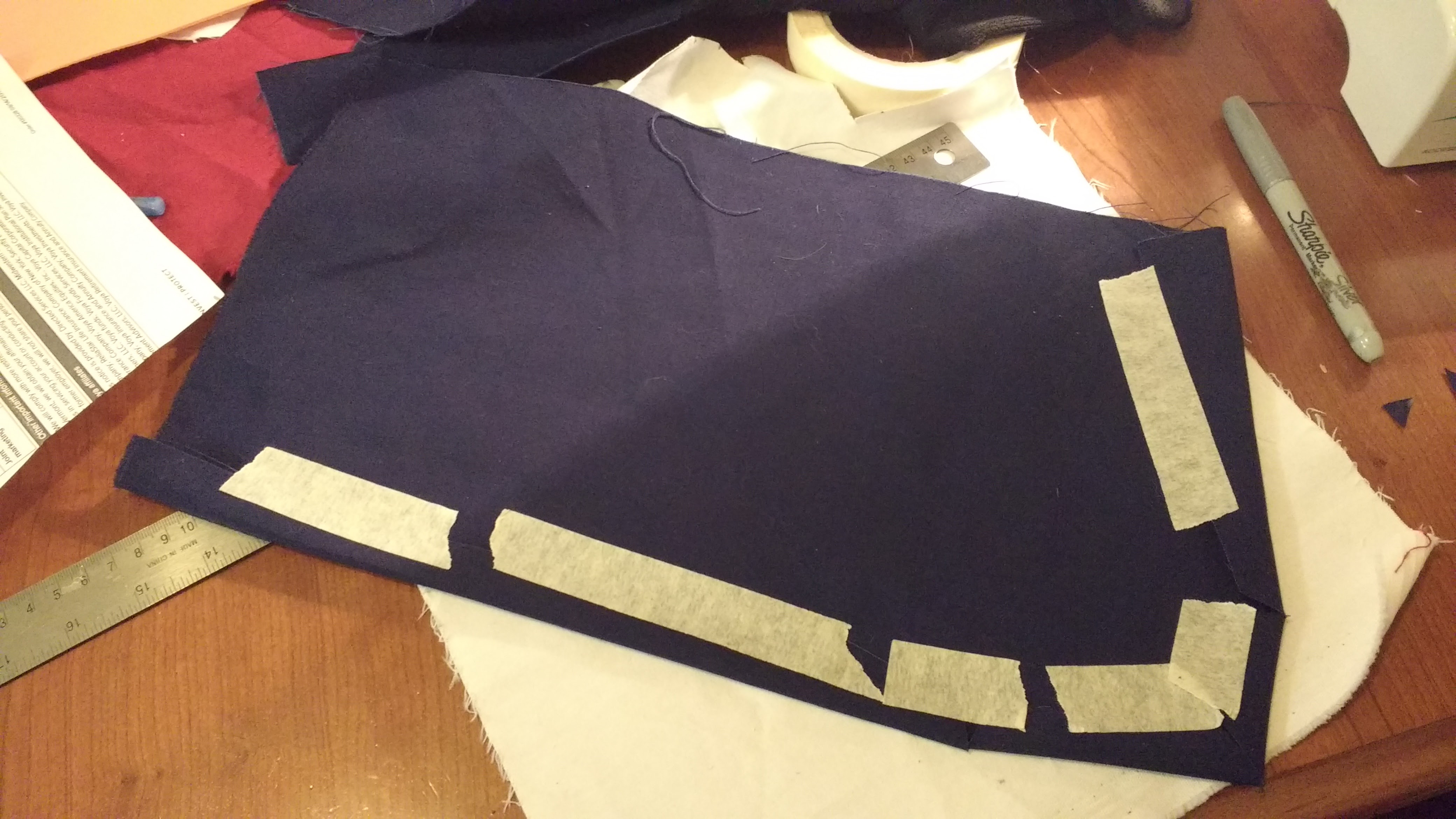 Picture of Stencil, Cut, and Hem the Lower Left and Lower Right Panels