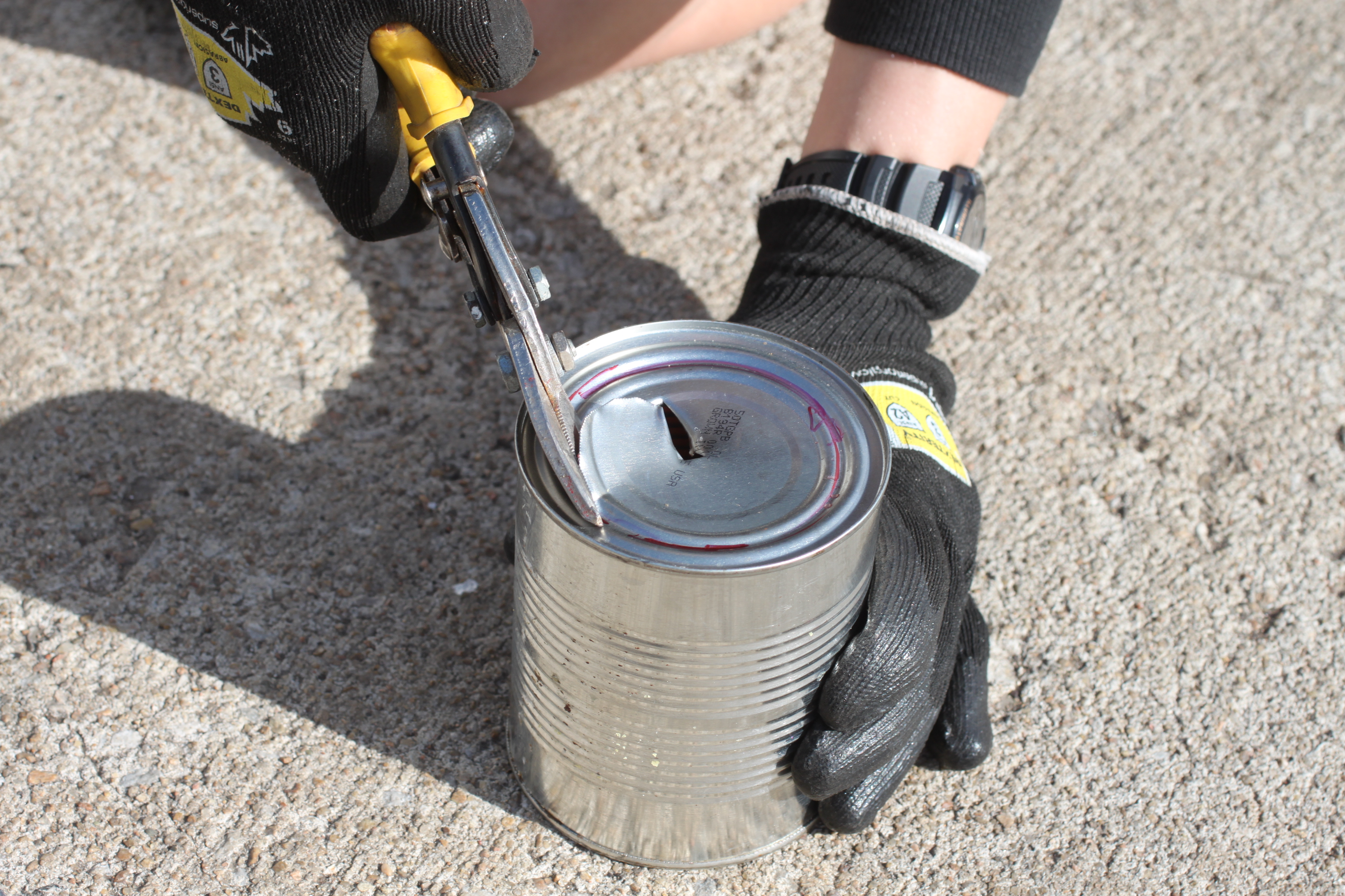 Picture of Cut Your Large Can to Fit Your Small Can.