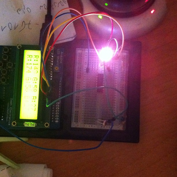 Picture of RGB LED Change of Colours+light Sensor+LCD