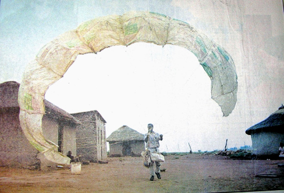 Picture of African Makes Paraglider From Plastic Bags