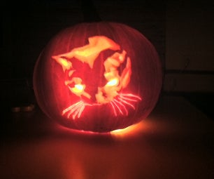 Detailed Pumpkin Carving (Photo of My Cat)