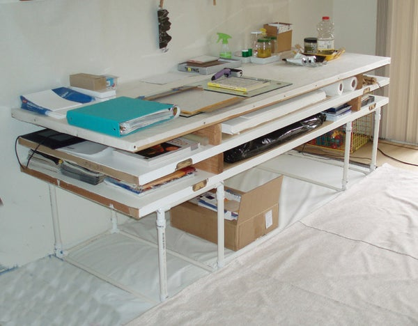 Easy (no Power Tools) Mobile Workspace With Storage for Large Paper