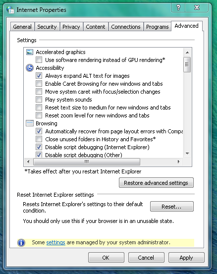 Picture of Whithin Internet Options...