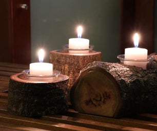 Natural Wood Candle Holders