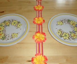 Flower Table Runner from Lei and Ribbon