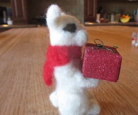 """""""Comes With a Kiss"""" Needle Felted Rabbit With Gift Box"""