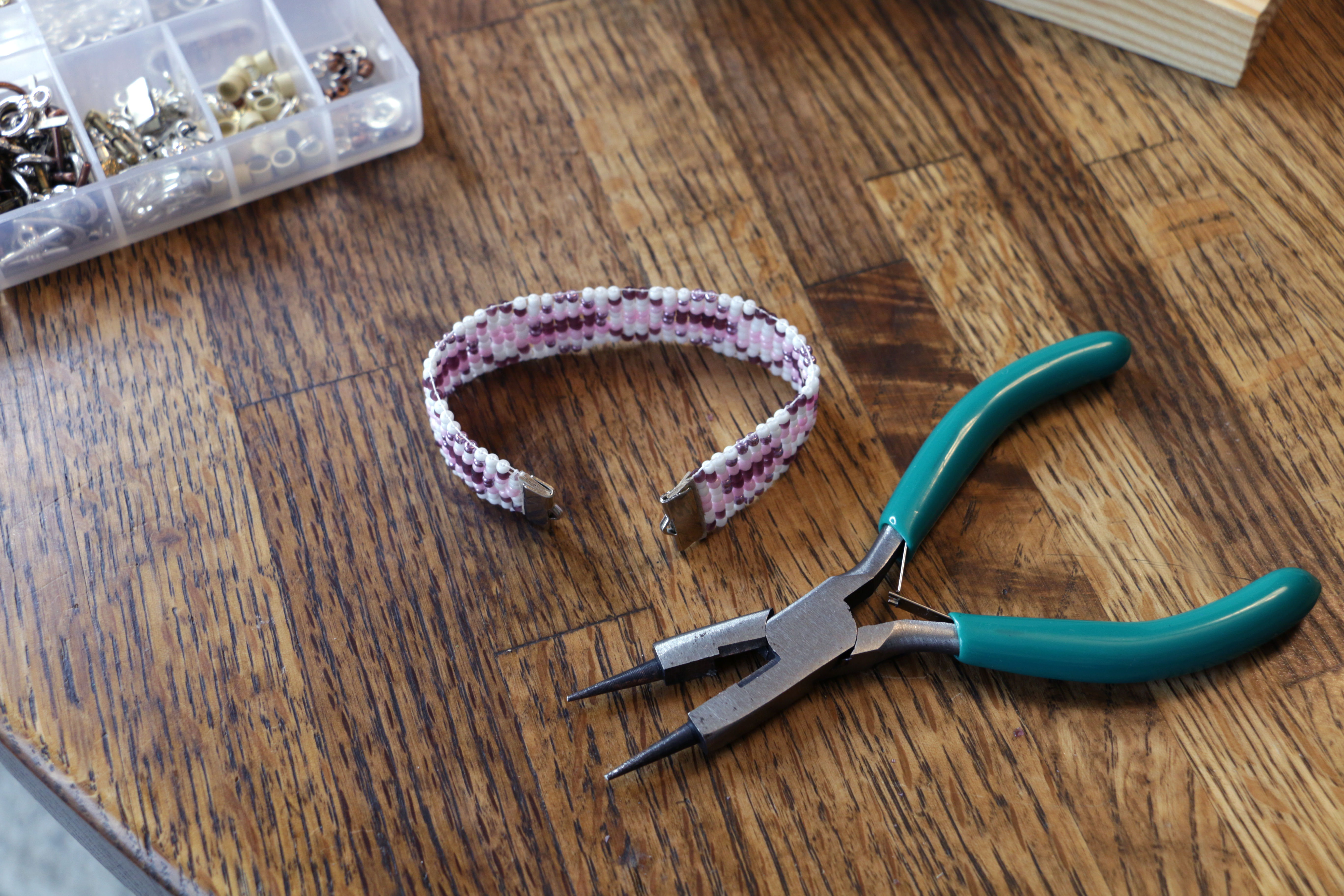 Picture of Finishing the Beaded Bracelet on the Loom