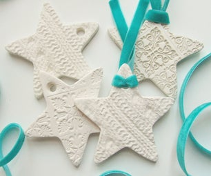 Embossed Clay Star Christmas Decorations.