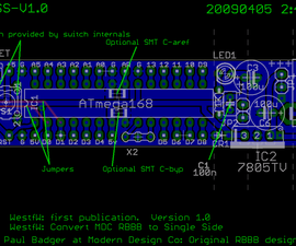 Single Sided Really Bare Bones Board Arduino in EAGLE.