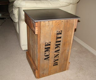 """Dynamite Crate"" End Table From Old Pallet"