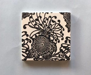 Chrysanthemum Pattern Screen Printed Ceramic Tile