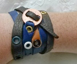 Coin and Leather Wrap Bracelet