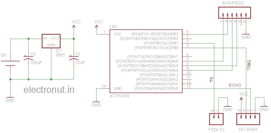 Picture of Talking to Ultrasonic Distance Sensor HC-SR04 Using an ATtiny84