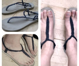 DIY Sandals from Old Flip Flops + T-Shirt