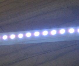 LED light strip in wood housing