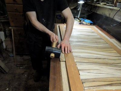 Installing and Gluing the Central Decorative Panel Into the Table Bed Recess