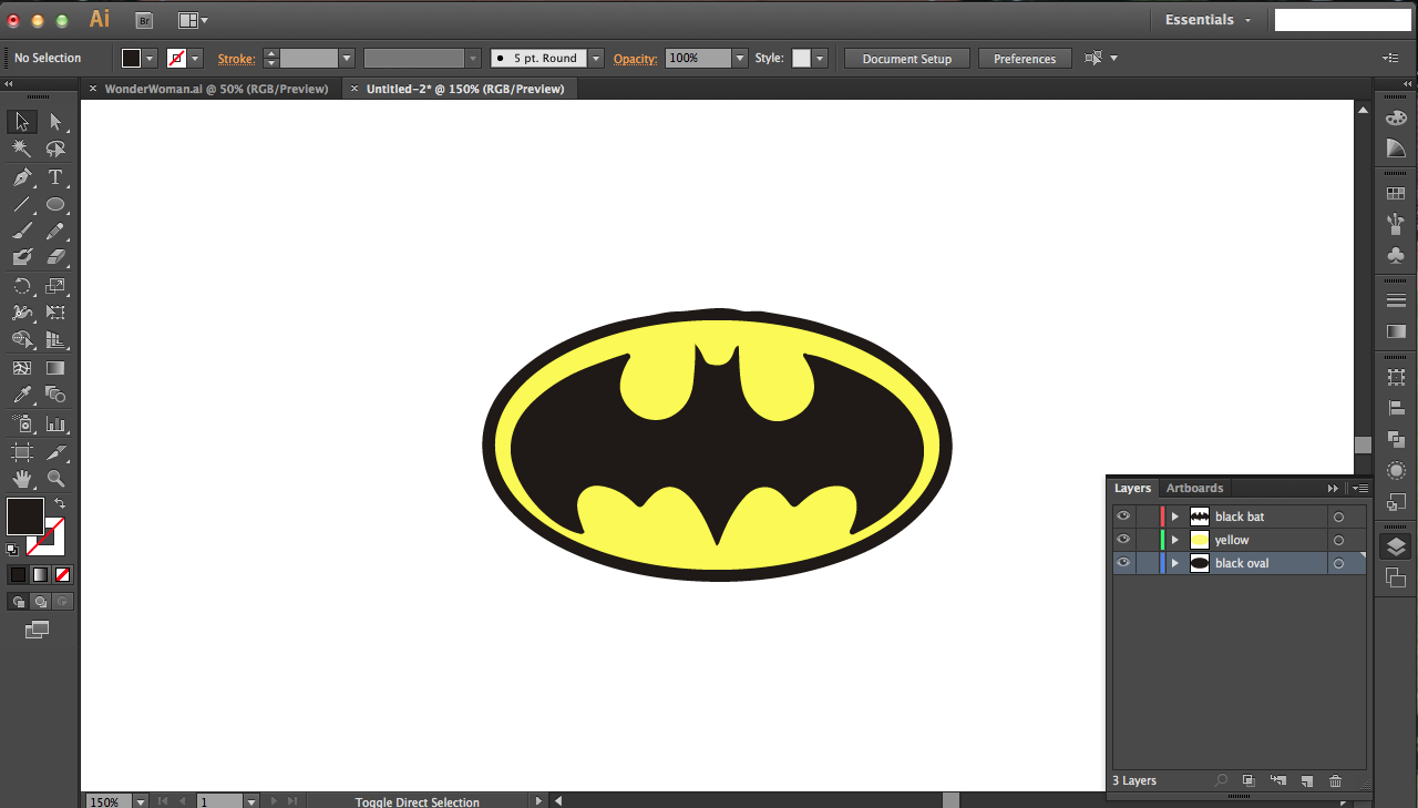 Picture of Batman: Using Silhouette Image Tracing