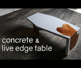 White Concrete & Live-Edge Waterfall Table